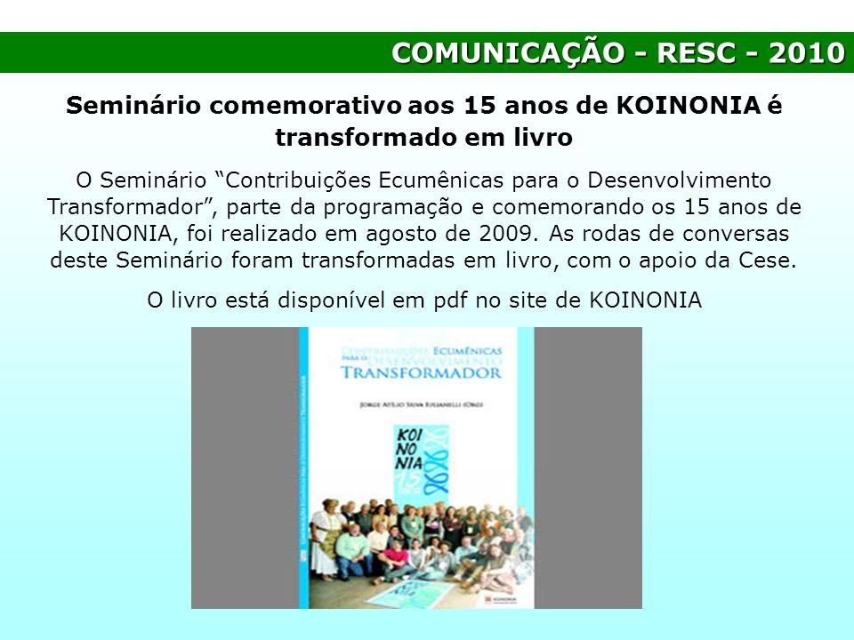 Seminário comemorativo aos 15 anos de KOINONIA é transformado em livro
