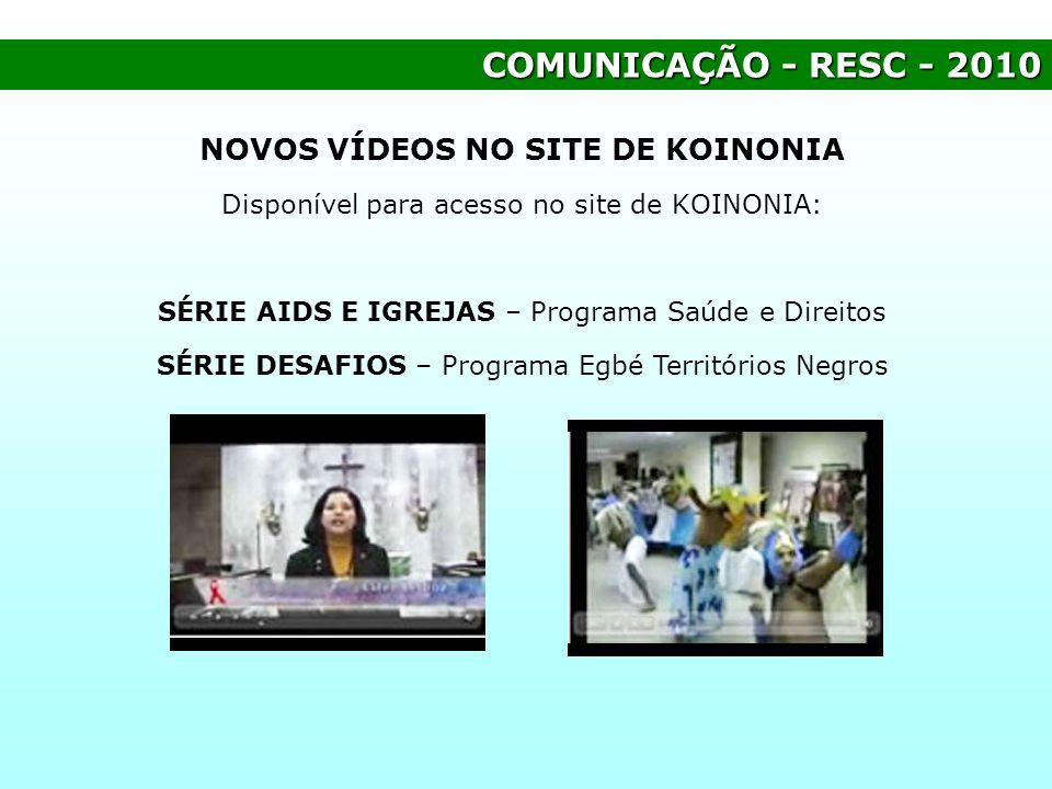 NOVOS VÍDEOS NO SITE DE KOINONIA