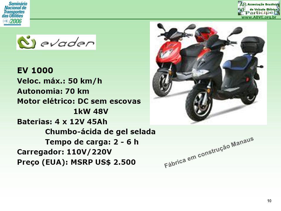 EV 1000 Veloc. máx.: 50 km/h Autonomia: 70 km