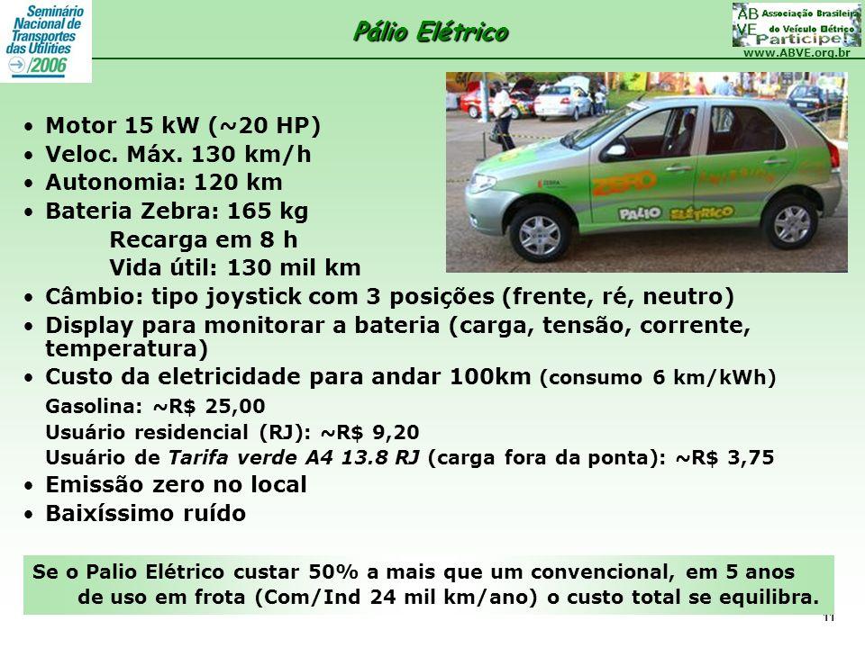 Pálio Elétrico Motor 15 kW (~20 HP) Veloc. Máx. 130 km/h