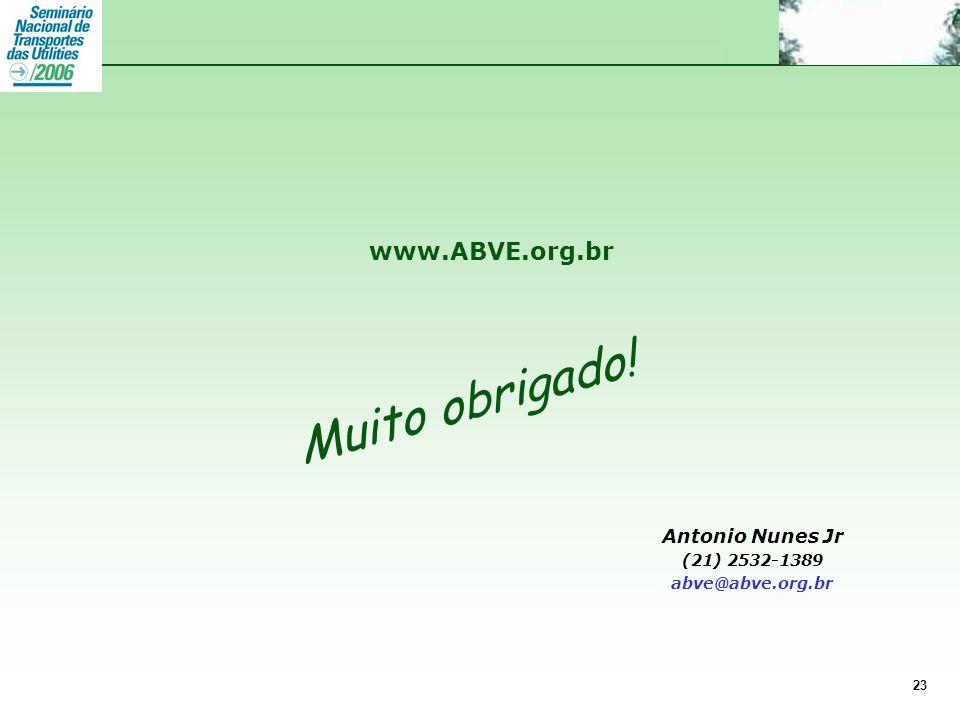 Muito obrigado! www.ABVE.org.br Antonio Nunes Jr (21) 2532-1389