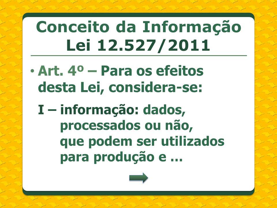 Conceito da Informação Lei 12.527/2011