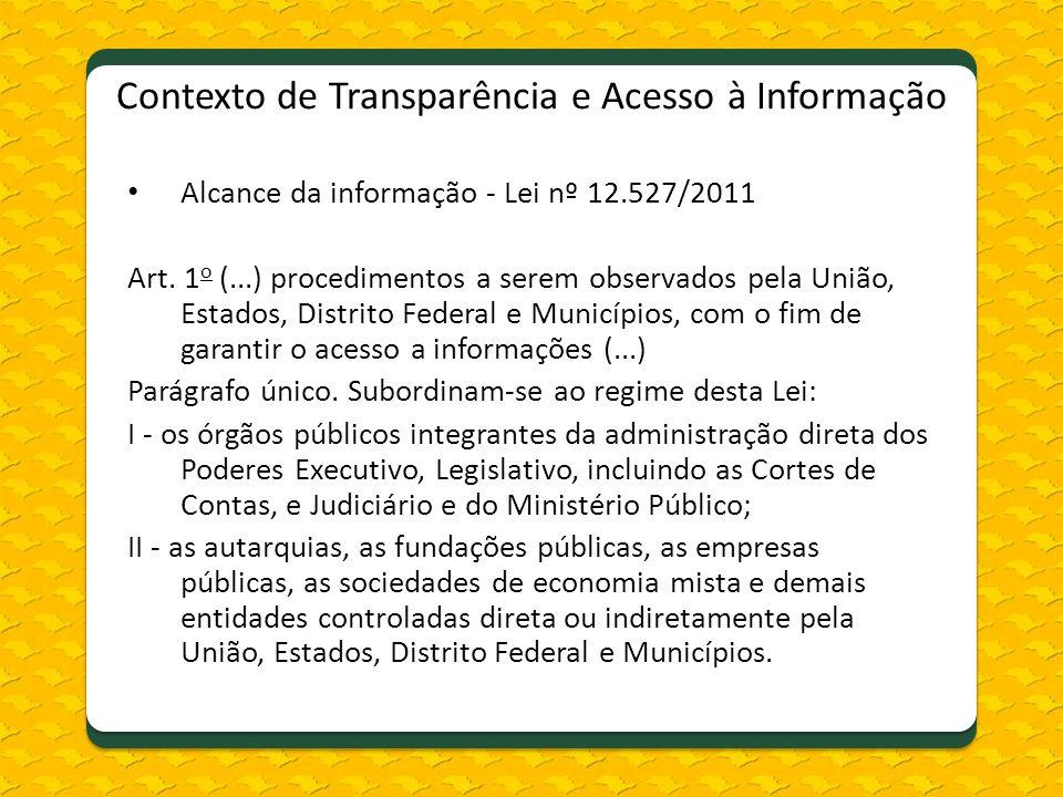 Contexto de Transparência e Acesso à Informação