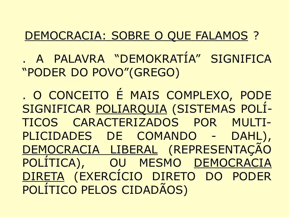 . A PALAVRA DEMOKRATÍA SIGNIFICA PODER DO POVO (GREGO)