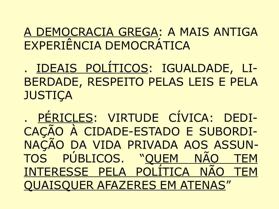 A DEMOCRACIA GREGA: A MAIS ANTIGA EXPERIÊNCIA DEMOCRÁTICA