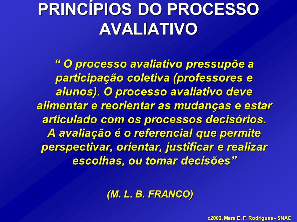 PRINCÍPIOS DO PROCESSO AVALIATIVO