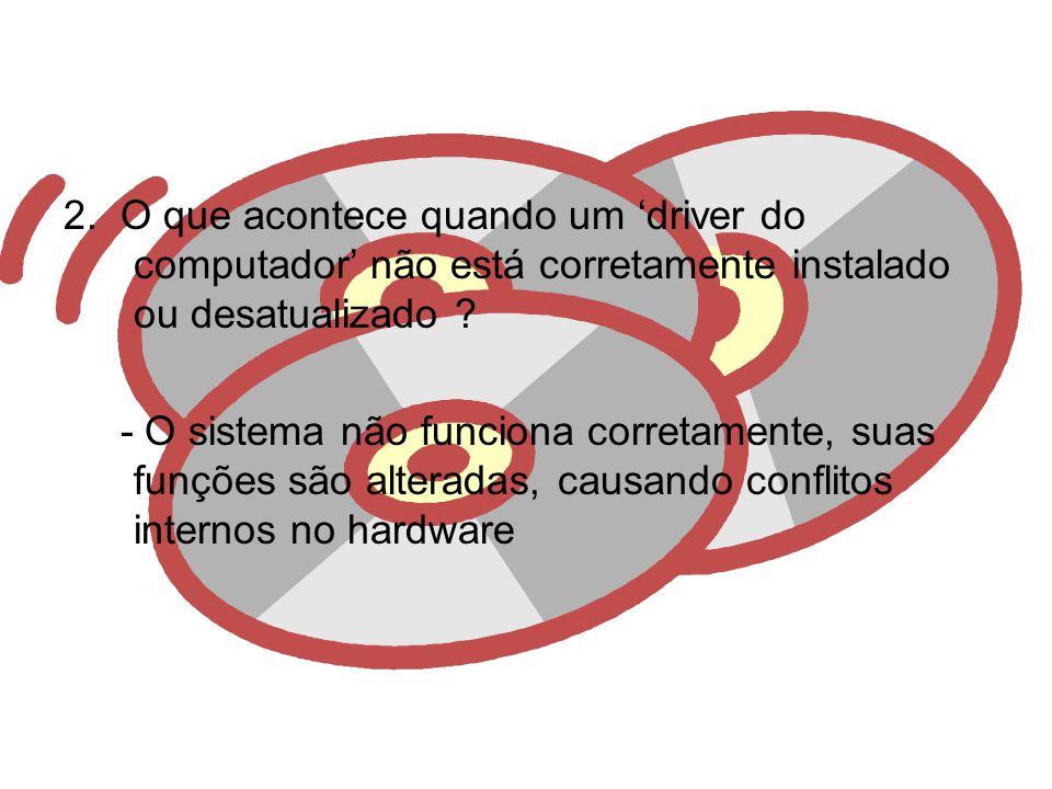 2. O que acontece quando um 'driver do computador' não está corretamente instalado ou desatualizado