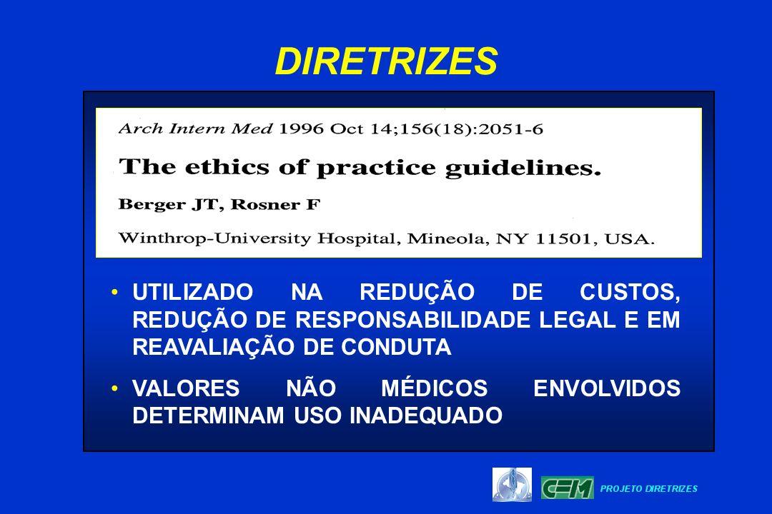 DIRETRIZES UTILIZADO NA REDUÇÃO DE CUSTOS, REDUÇÃO DE RESPONSABILIDADE LEGAL E EM REAVALIAÇÃO DE CONDUTA.