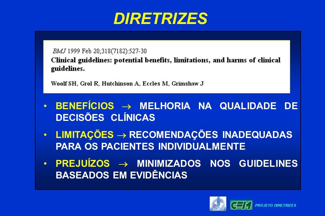 DIRETRIZES BENEFÍCIOS  MELHORIA NA QUALIDADE DE DECISÕES CLÍNICAS