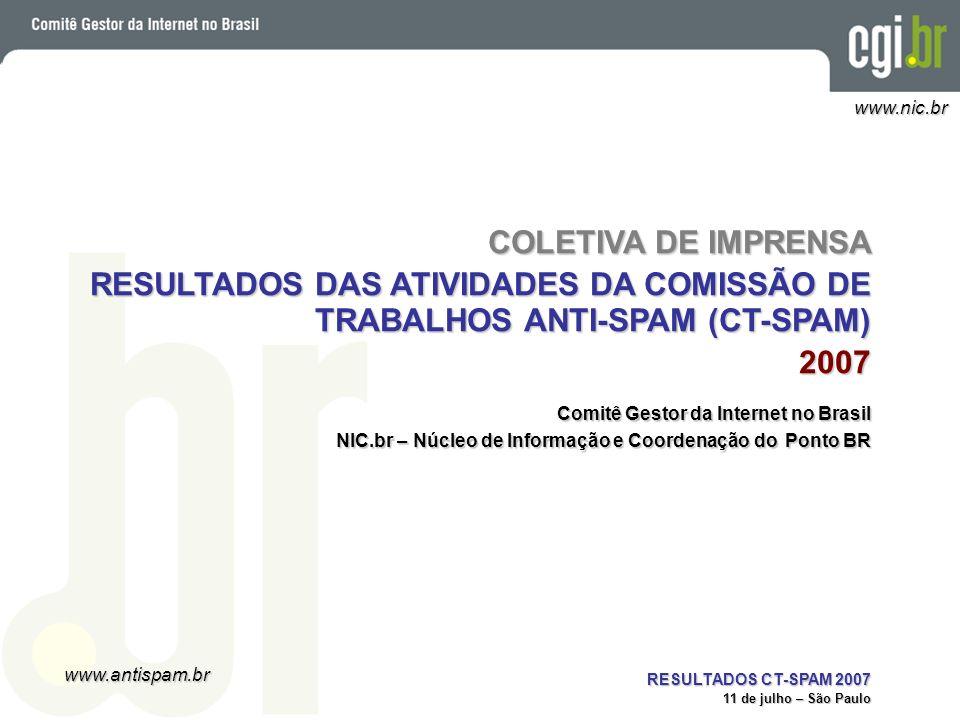 RESULTADOS DAS ATIVIDADES DA COMISSÃO DE TRABALHOS ANTI-SPAM (CT-SPAM)