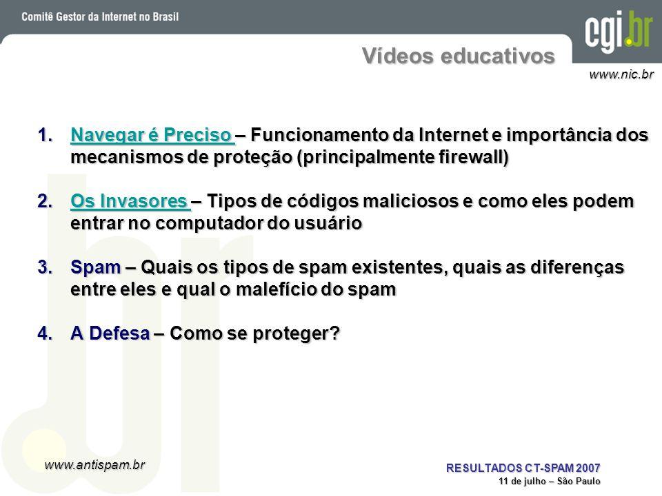 Vídeos educativos Navegar é Preciso – Funcionamento da Internet e importância dos mecanismos de proteção (principalmente firewall)