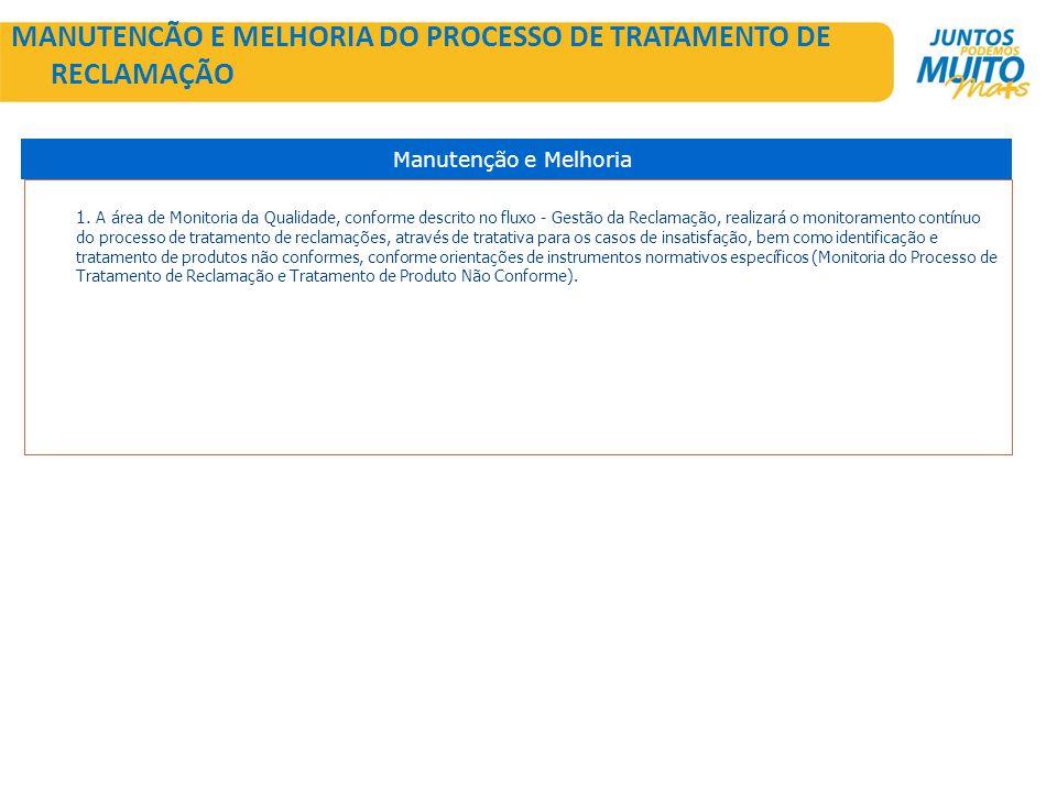 MANUTENCÃO E MELHORIA DO PROCESSO DE TRATAMENTO DE RECLAMAÇÃO