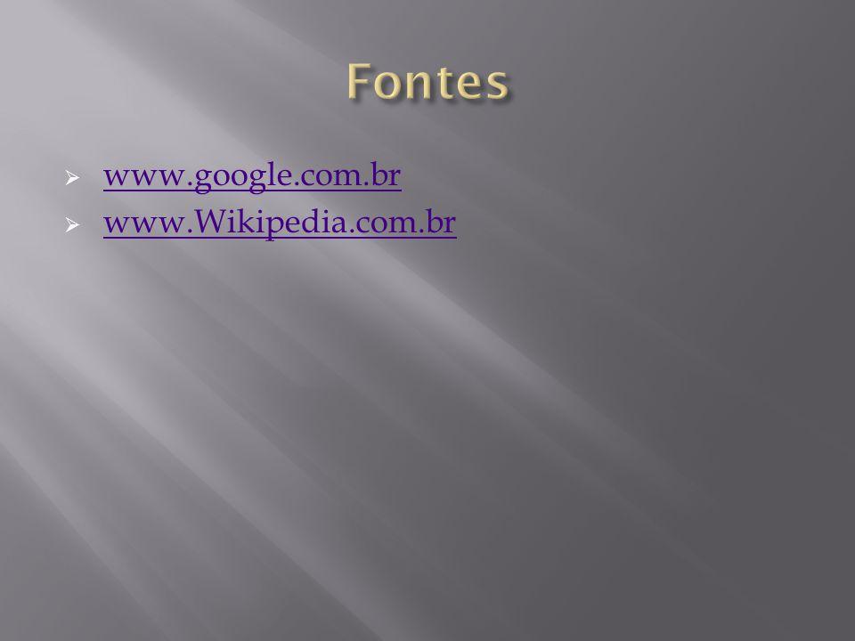 Fontes www.google.com.br www.Wikipedia.com.br