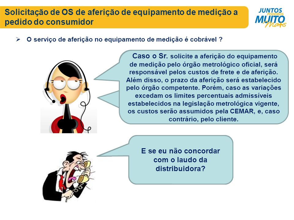 Solicitação de OS de aferição de equipamento de medição a pedido do consumidor