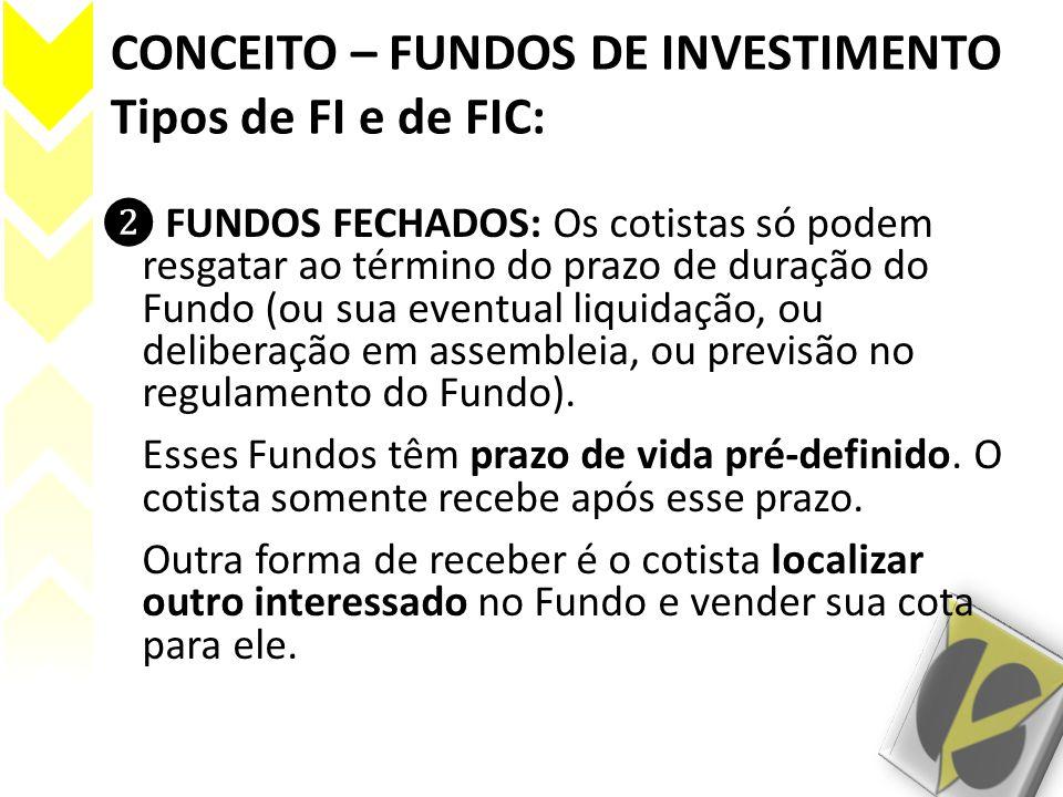 CONCEITO – FUNDOS DE INVESTIMENTO Tipos de FI e de FIC: