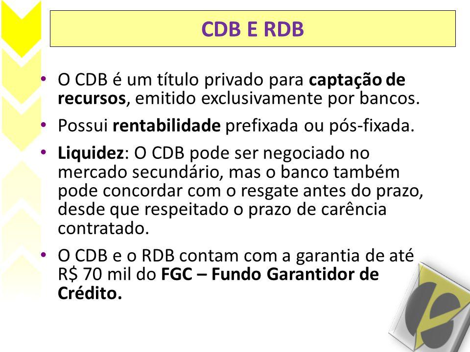 CDB E RDB O CDB é um título privado para captação de recursos, emitido exclusivamente por bancos. Possui rentabilidade prefixada ou pós-fixada.