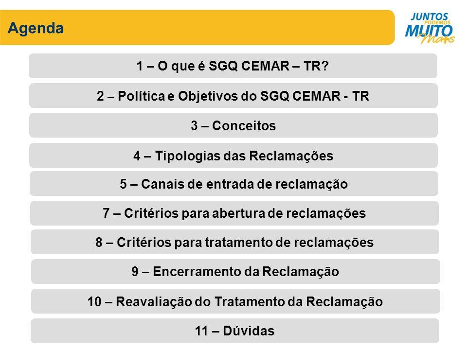 Agenda 1 – O que é SGQ CEMAR – TR