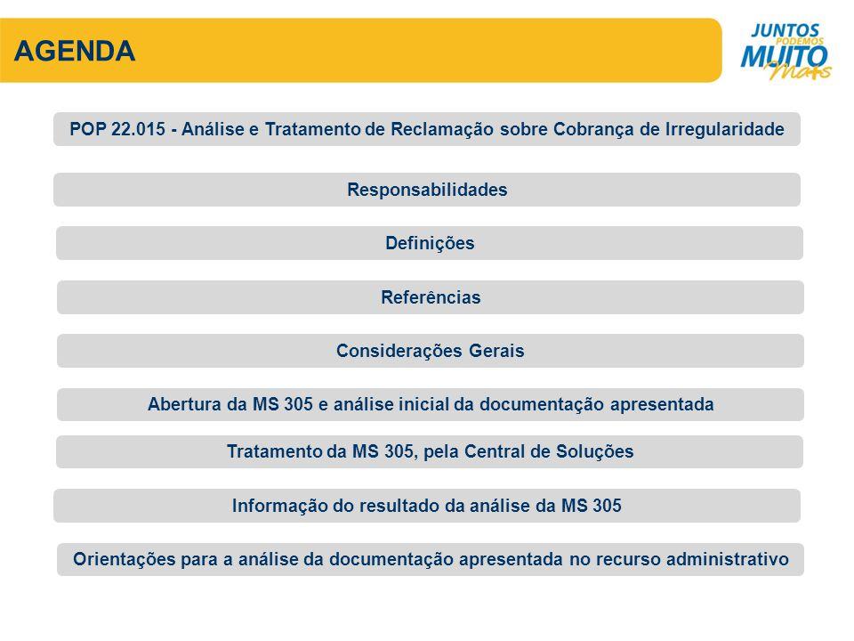 AGENDA POP 22.015 - Análise e Tratamento de Reclamação sobre Cobrança de Irregularidade. Responsabilidades.