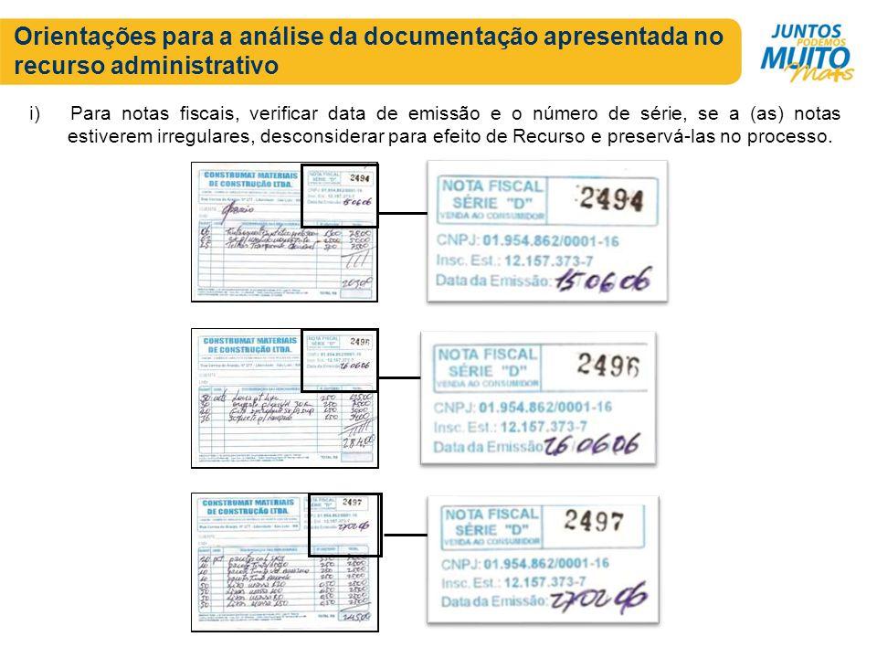 Orientações para a análise da documentação apresentada no recurso administrativo