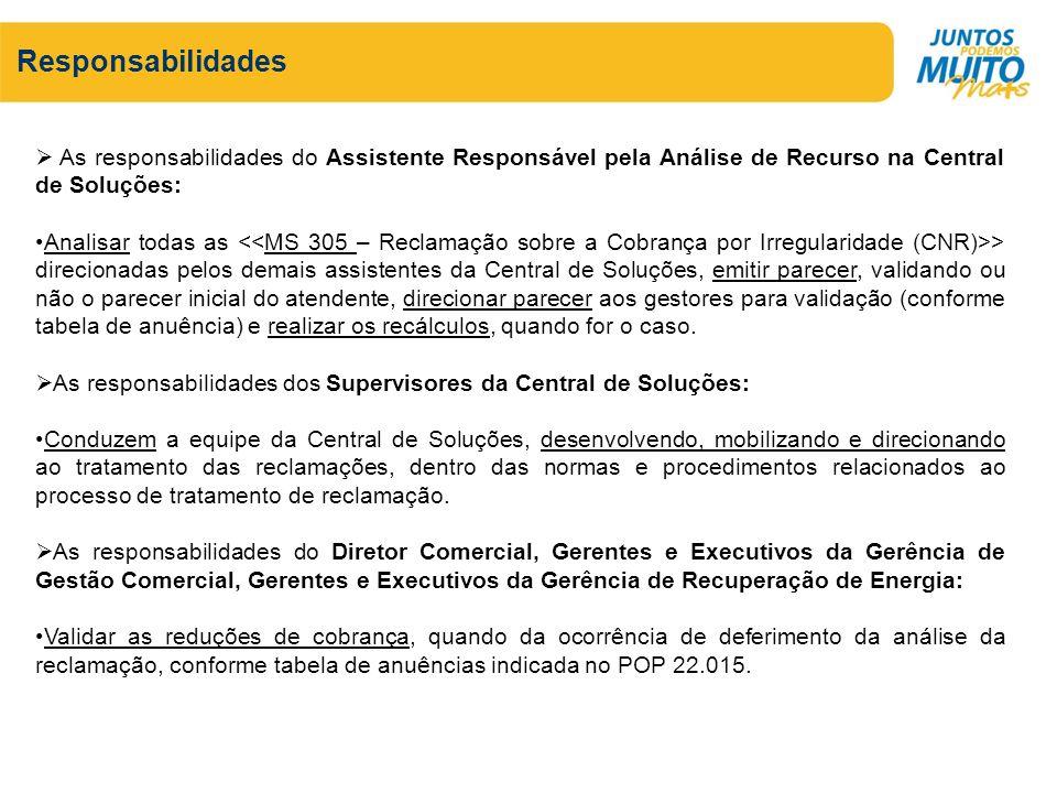 Responsabilidades As responsabilidades do Assistente Responsável pela Análise de Recurso na Central de Soluções: