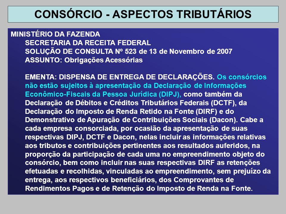 CONSÓRCIO - ASPECTOS TRIBUTÁRIOS