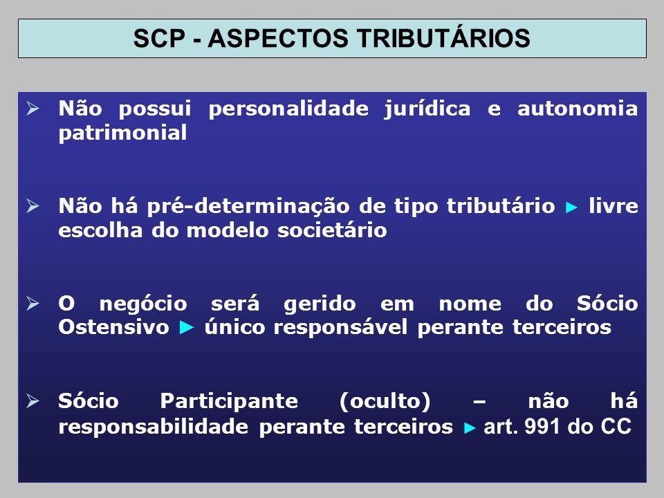 SCP - ASPECTOS TRIBUTÁRIOS