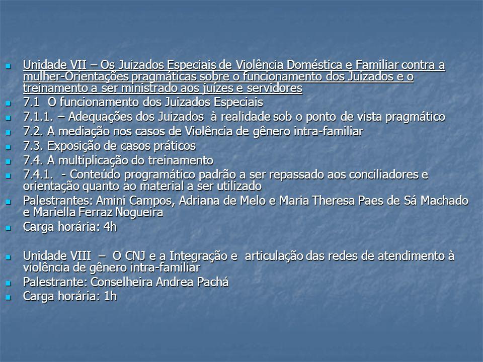 Unidade VII – Os Juizados Especiais de Violência Doméstica e Familiar contra a mulher-Orientações pragmáticas sobre o funcionamento dos Juizados e o treinamento a ser ministrado aos juízes e servidores