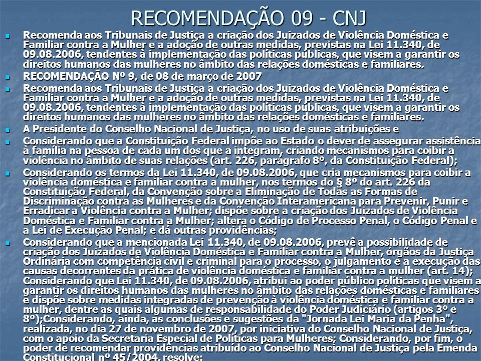 RECOMENDAÇÃO 09 - CNJ