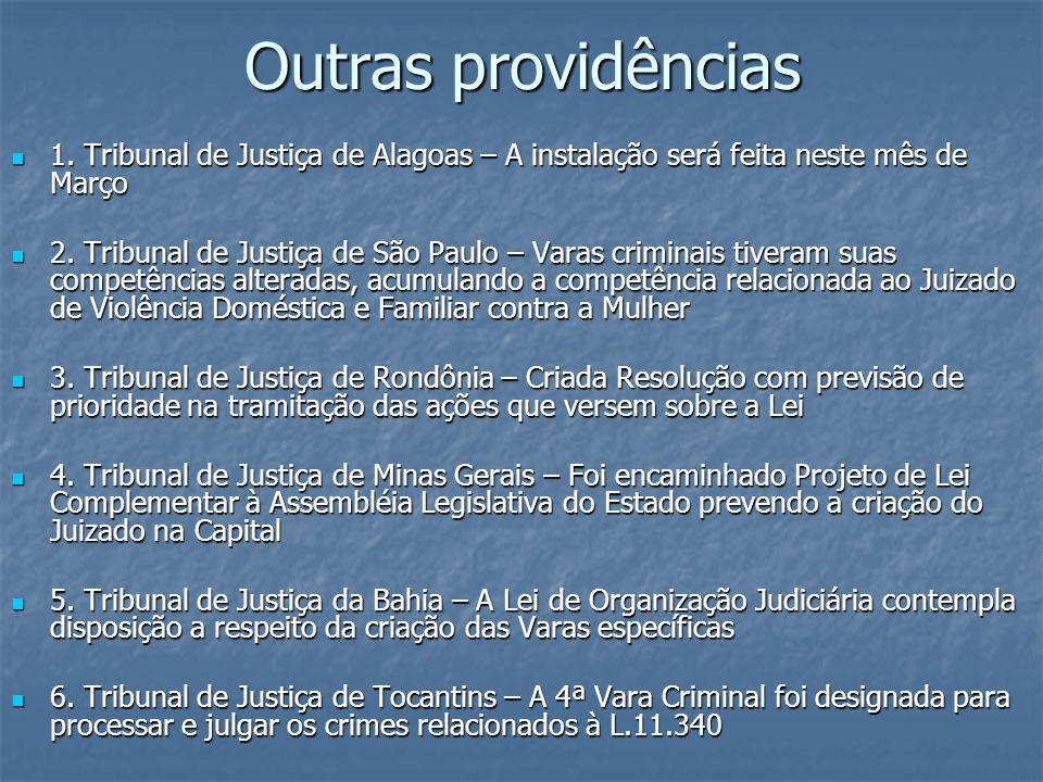 Outras providências1. Tribunal de Justiça de Alagoas – A instalação será feita neste mês de Março.