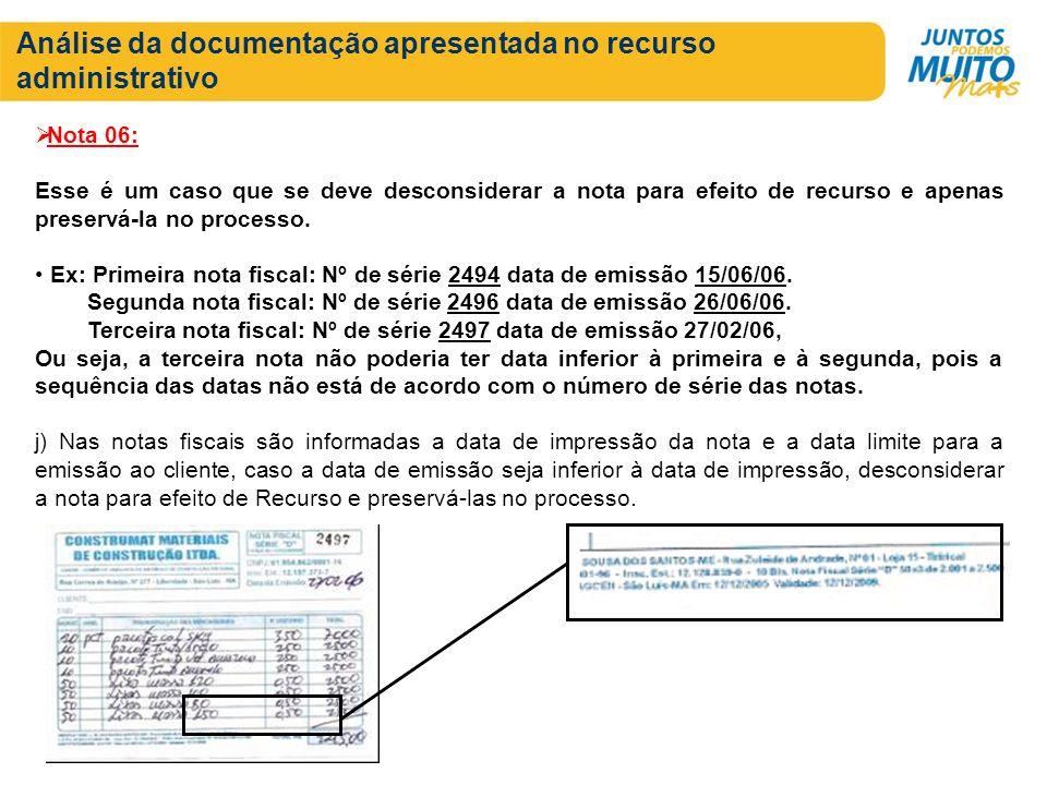 Análise da documentação apresentada no recurso administrativo
