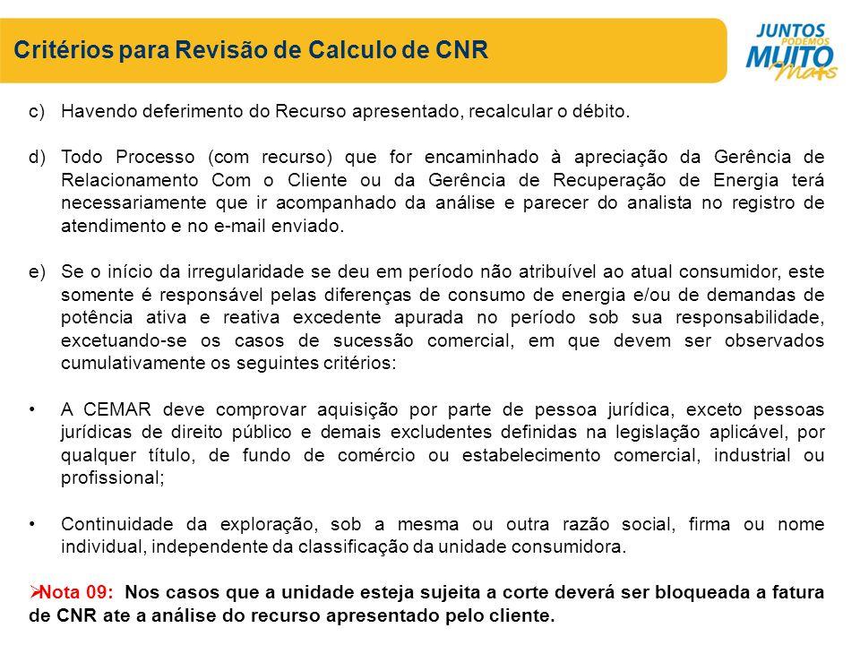 Critérios para Revisão de Calculo de CNR