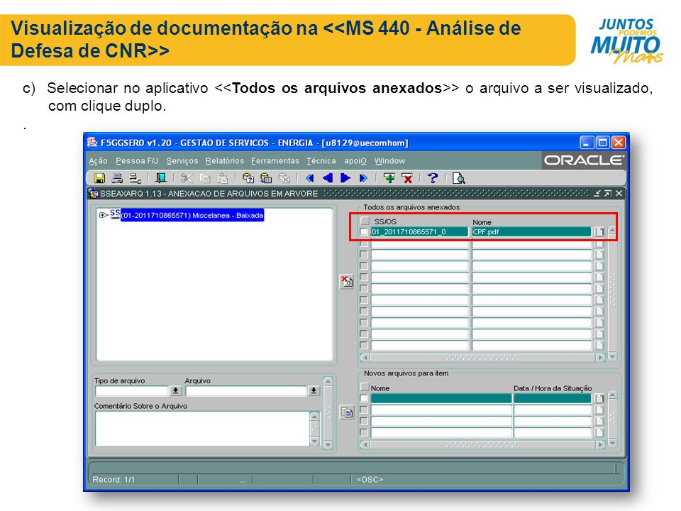 Visualização de documentação na <<MS 440 - Análise de Defesa de CNR>>