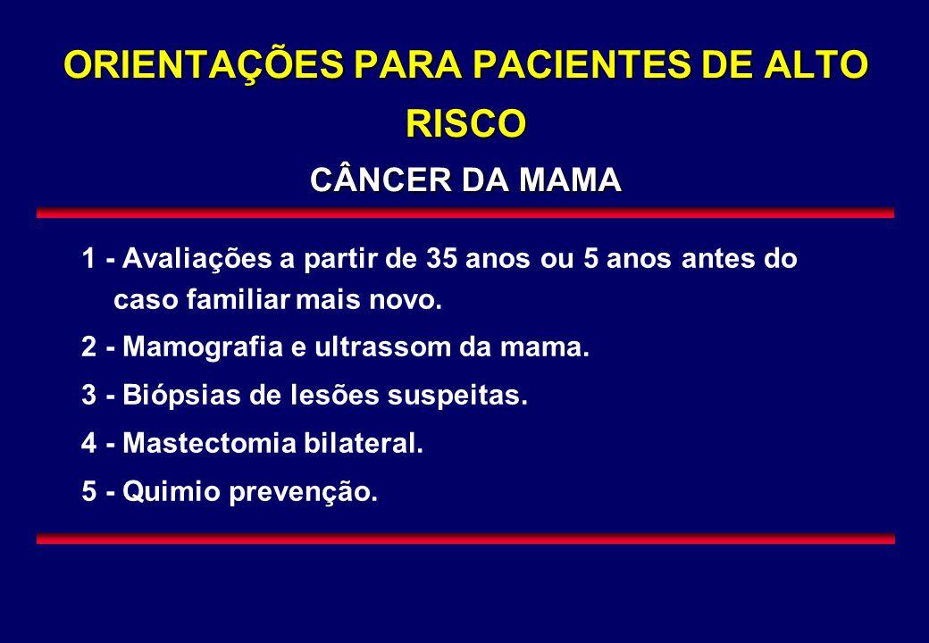 ORIENTAÇÕES PARA PACIENTES DE ALTO RISCO CÂNCER DA MAMA