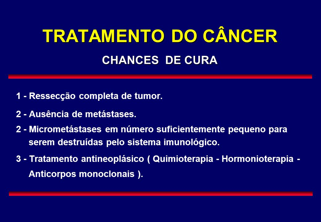 TRATAMENTO DO CÂNCER CHANCES DE CURA