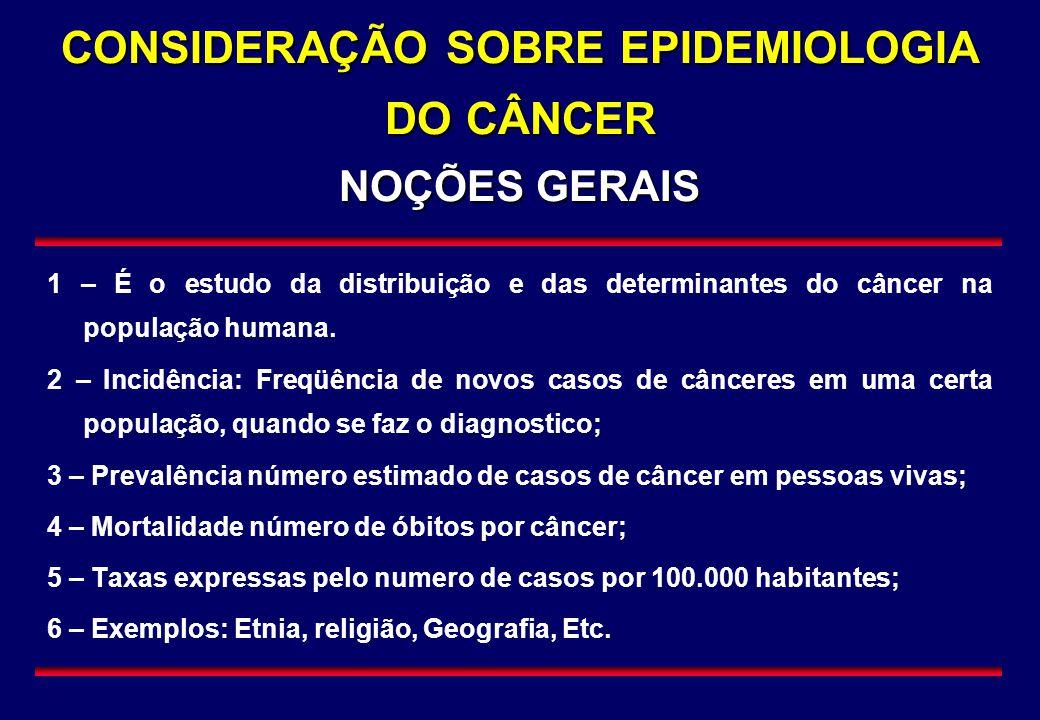 CONSIDERAÇÃO SOBRE EPIDEMIOLOGIA DO CÂNCER NOÇÕES GERAIS
