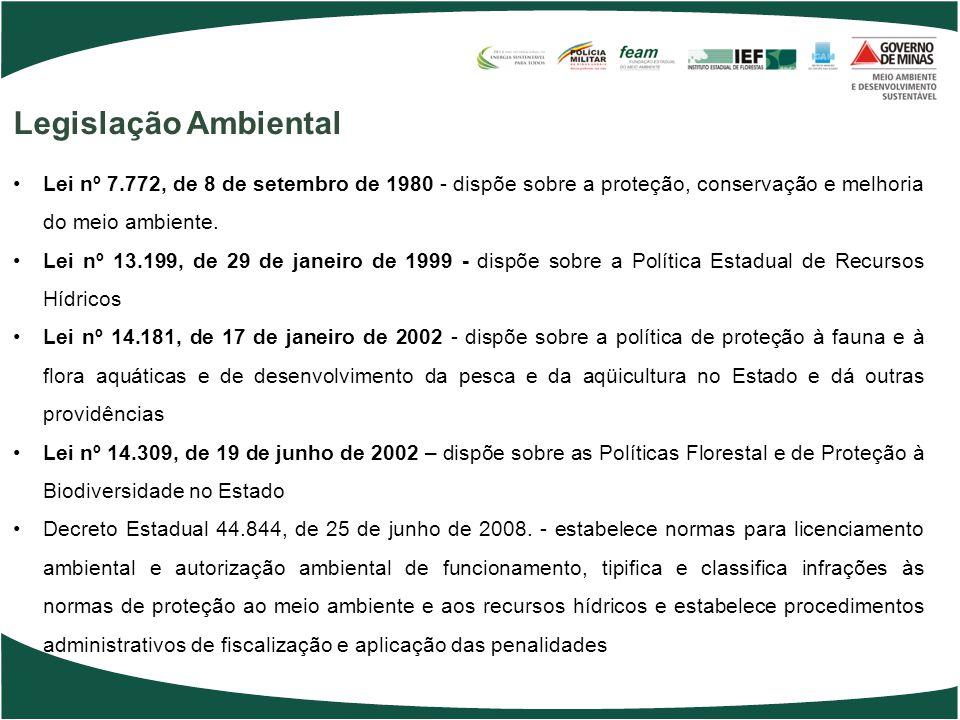 Legislação Ambiental Lei nº 7.772, de 8 de setembro de 1980 - dispõe sobre a proteção, conservação e melhoria do meio ambiente.