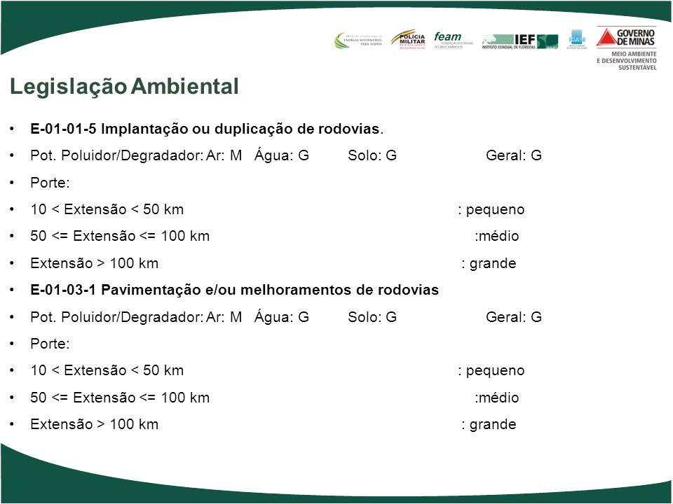 Legislação Ambiental E-01-01-5 Implantação ou duplicação de rodovias.