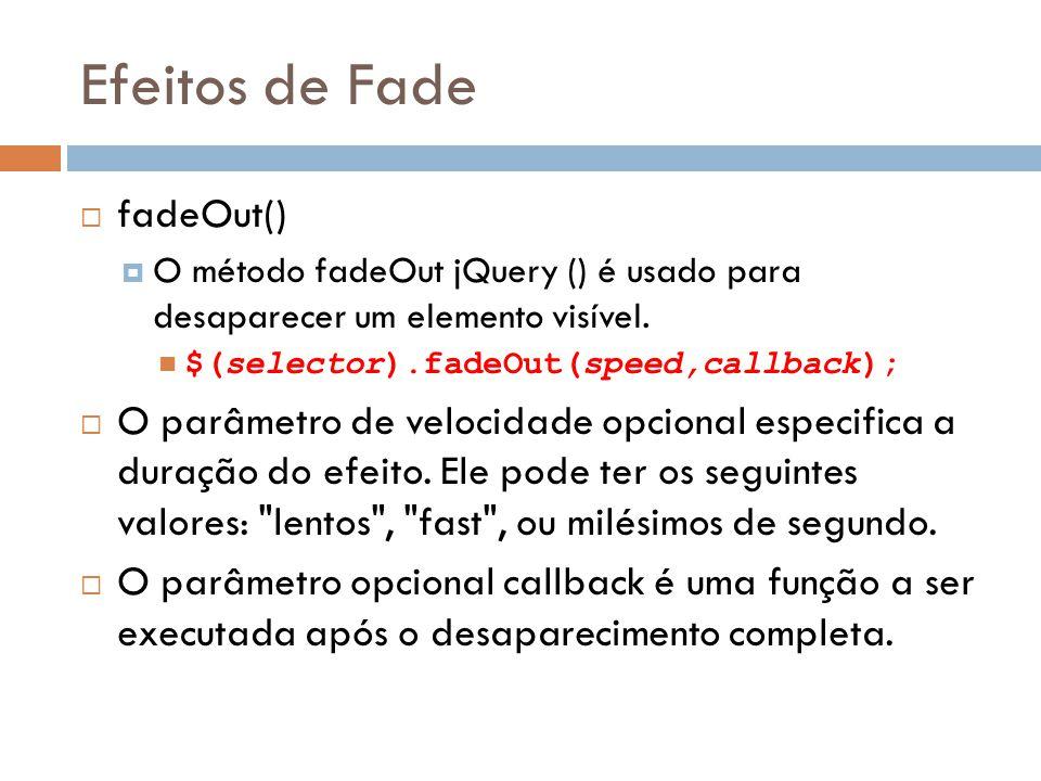 Efeitos de Fade fadeOut()