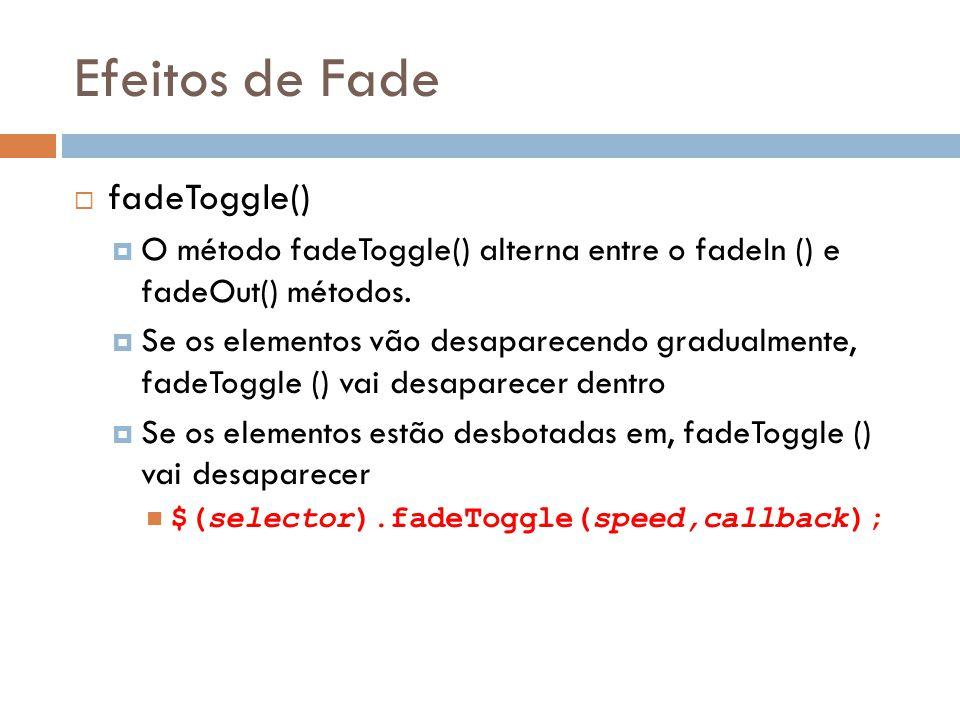 Efeitos de Fade fadeToggle()