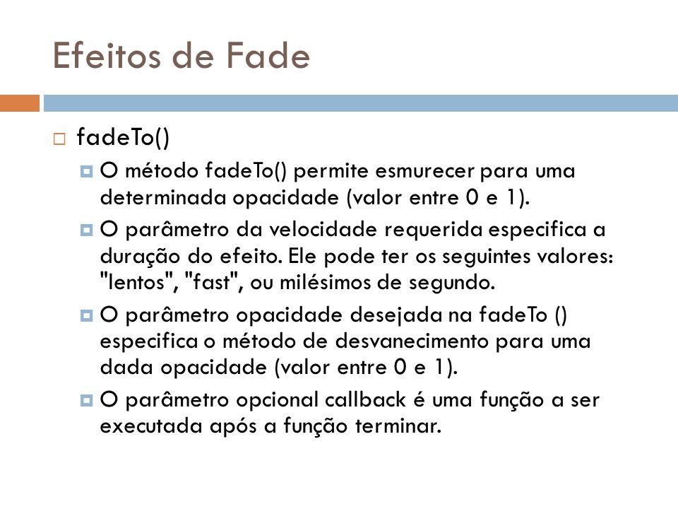 Efeitos de Fade fadeTo()