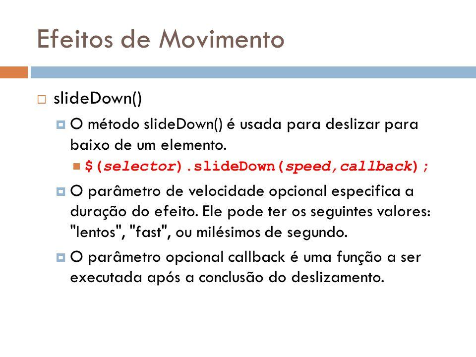 Efeitos de Movimento slideDown()