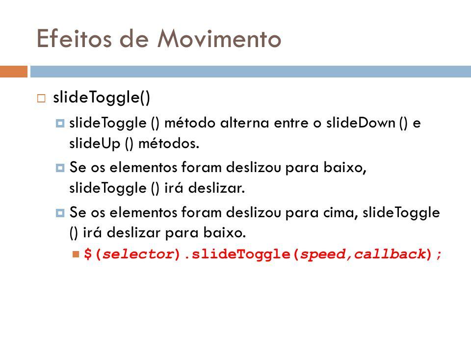 Efeitos de Movimento slideToggle()