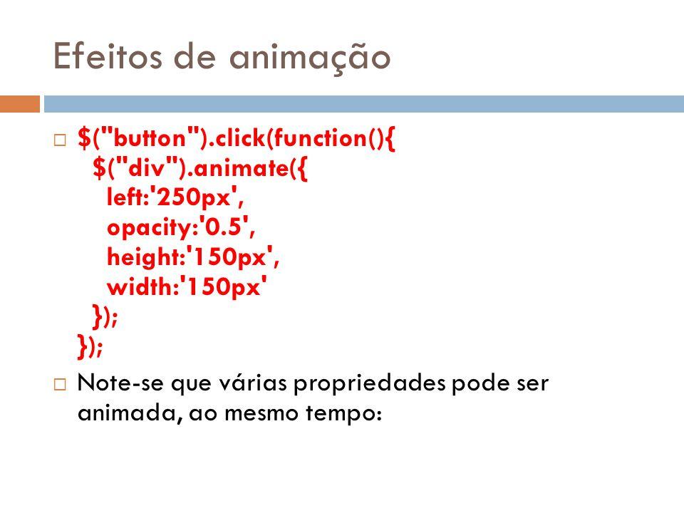 Efeitos de animação