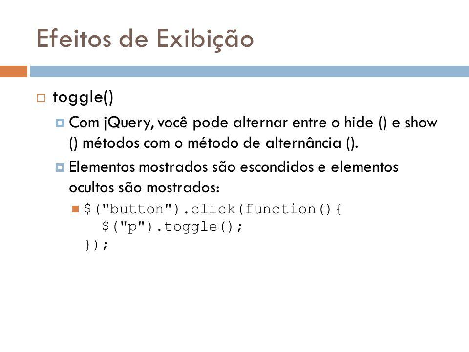 Efeitos de Exibição toggle()