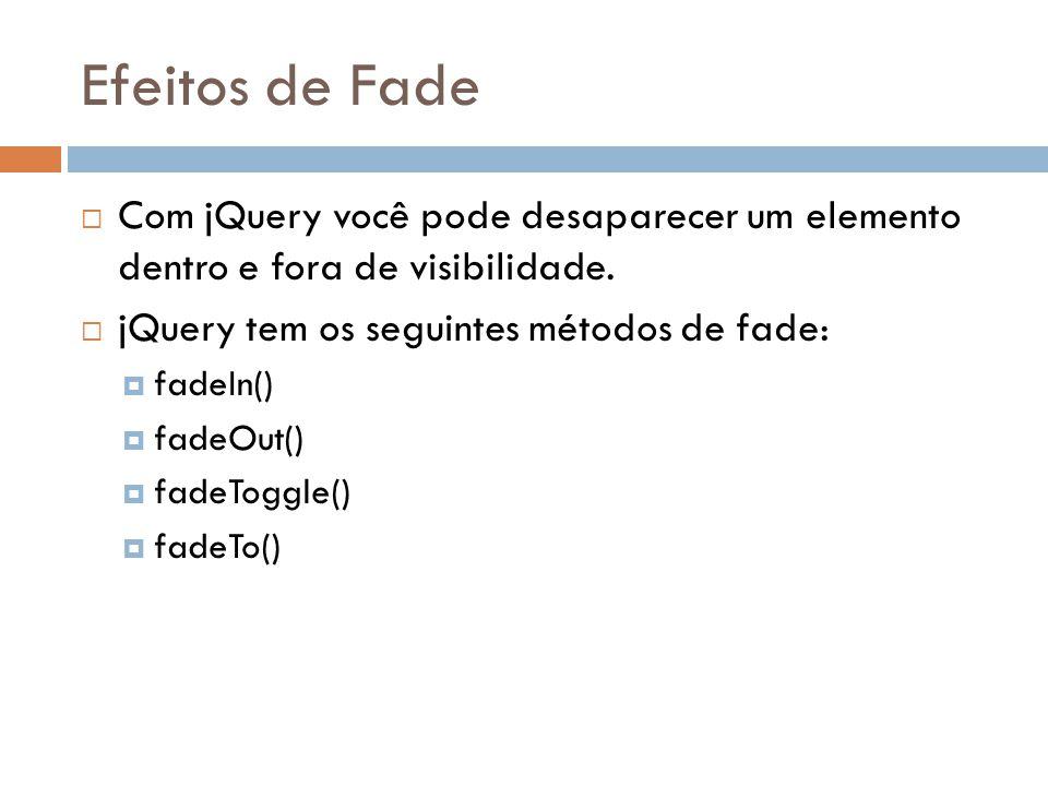 Efeitos de Fade Com jQuery você pode desaparecer um elemento dentro e fora de visibilidade. jQuery tem os seguintes métodos de fade: