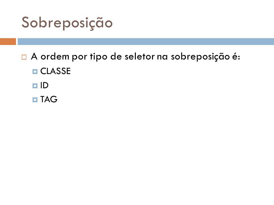 Sobreposição A ordem por tipo de seletor na sobreposição é: CLASSE ID