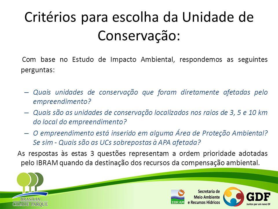 Critérios para escolha da Unidade de Conservação: