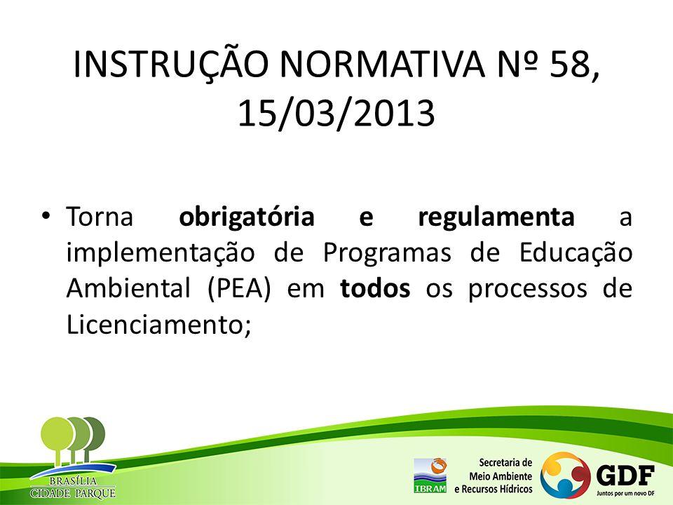 INSTRUÇÃO NORMATIVA Nº 58, 15/03/2013