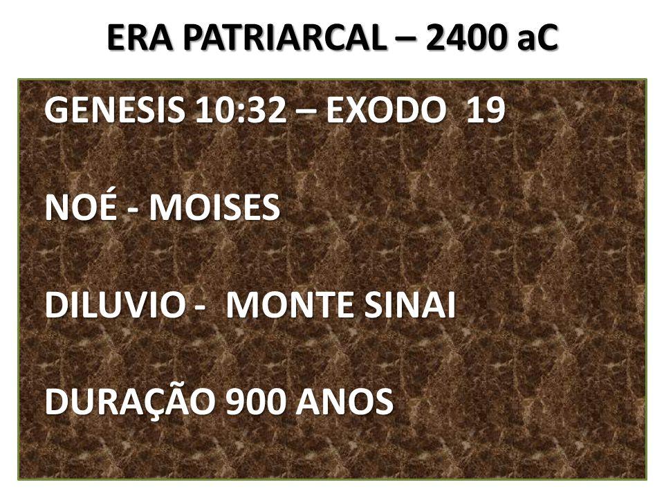 ERA PATRIARCAL – 2400 aC GENESIS 10:32 – EXODO 19.