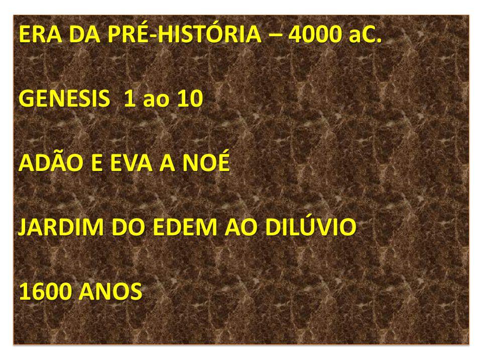 ERA DA PRÉ-HISTÓRIA – 4000 aC.